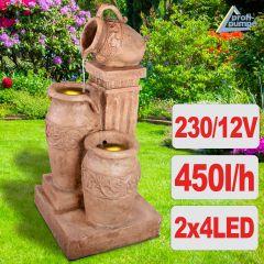 Gartenbrunnen & Wasserspiel DELFI mit LED-Licht