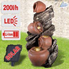 Solar - Gartenbrunnen & Wasserspiel ZAUBER-KRUG mit LED-Licht und Li-Ion-Akku