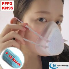 Mehrfach-Maske - FFP2/KN 95 groß aus Silikon mit austauschbarem 5-fach Filter, Ventil und 10 Stck Ersatzfilter