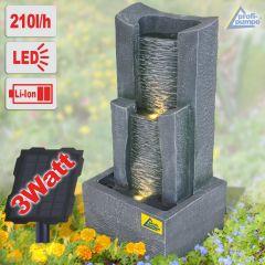 Solar - Gartenbrunnen & Wasserspiel 3-Stufige STEIN-KASKADE mit Li-Ion-Akku