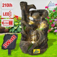 Solar - Gartenbrunnen & Wasserspiel BAUMWURZEL & STEIN-KASKADE mit Li-Ion-Akku