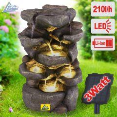 Solar - Gartenbrunnen & Wasserspiel FELS-ZAUBER mit Li-Ion-Akku