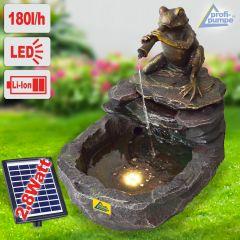 Solar - Gartenbrunnen & Wasserspiel DURSTIGER FROSCH mit Li-Ion-Akku