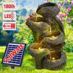Solar - Gartenbrunnen & Wasserspiel BAUMSTUMPF & STEINSCHALEN mit Li-Ion-Akku