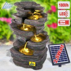 Solar - Gartenbrunnen & Wasserspiel KÖNIGS-FELS mit Li-Ion-Akku