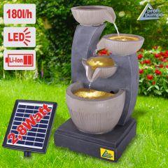 Solar - Gartenbrunnen & Wasserspiel FENG-SHUI mit Li-Ion-Akku