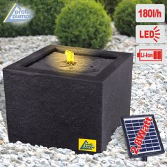 Solar - Gartenbrunnen & Wasserspiel BASALT-MODERNA mit Li-Ion-Akku