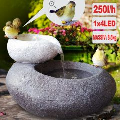 Gartenbrunnen FELS-SCHALEN mit LED-Licht