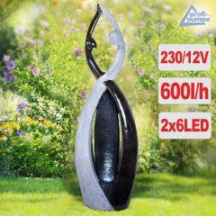 Gartenbrunnen LIEBES-TANZ mit LED-Licht 230V