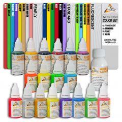 Airbrush Farben Wasserbasis 19-er GESCHENK-Set mit Zubehör