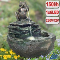 Garten- und Zimmerbrunnen DURSTIGER FROSCH mit LED-Licht