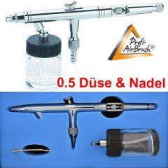 Airbrushpistole Profi-AirBrush Gravity Double-Action-Gun 182 D 0,5  mit Druckluftschlauch